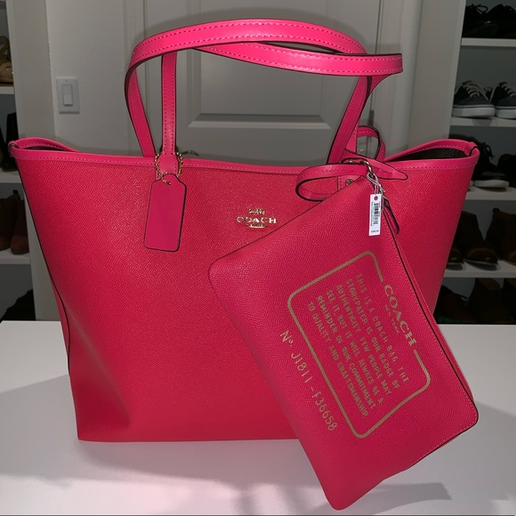 Coach Handbags - Neon Pink Reversible Coach tote NWT